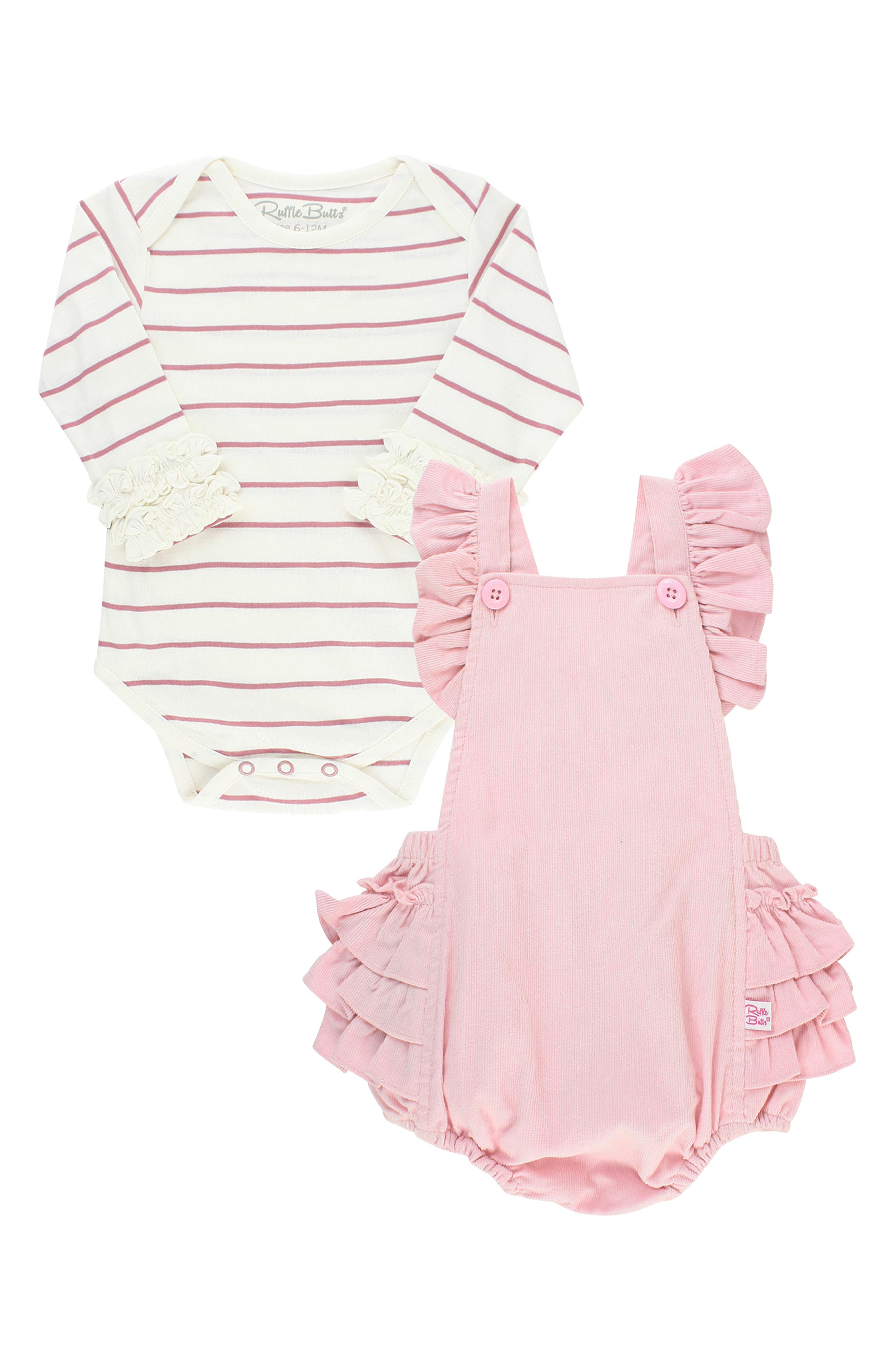 A long-sleeve bodysuit with ruffle cuffs and a pretty pinafore-inspired romper with lavish ruffles layer perfectly for an adorable season-spanning ensemble. Style Name: Rufflebutts Stripe Bodysuit & Pinafore Romper Set (Baby). Style Number: 6118813. Available in stores.