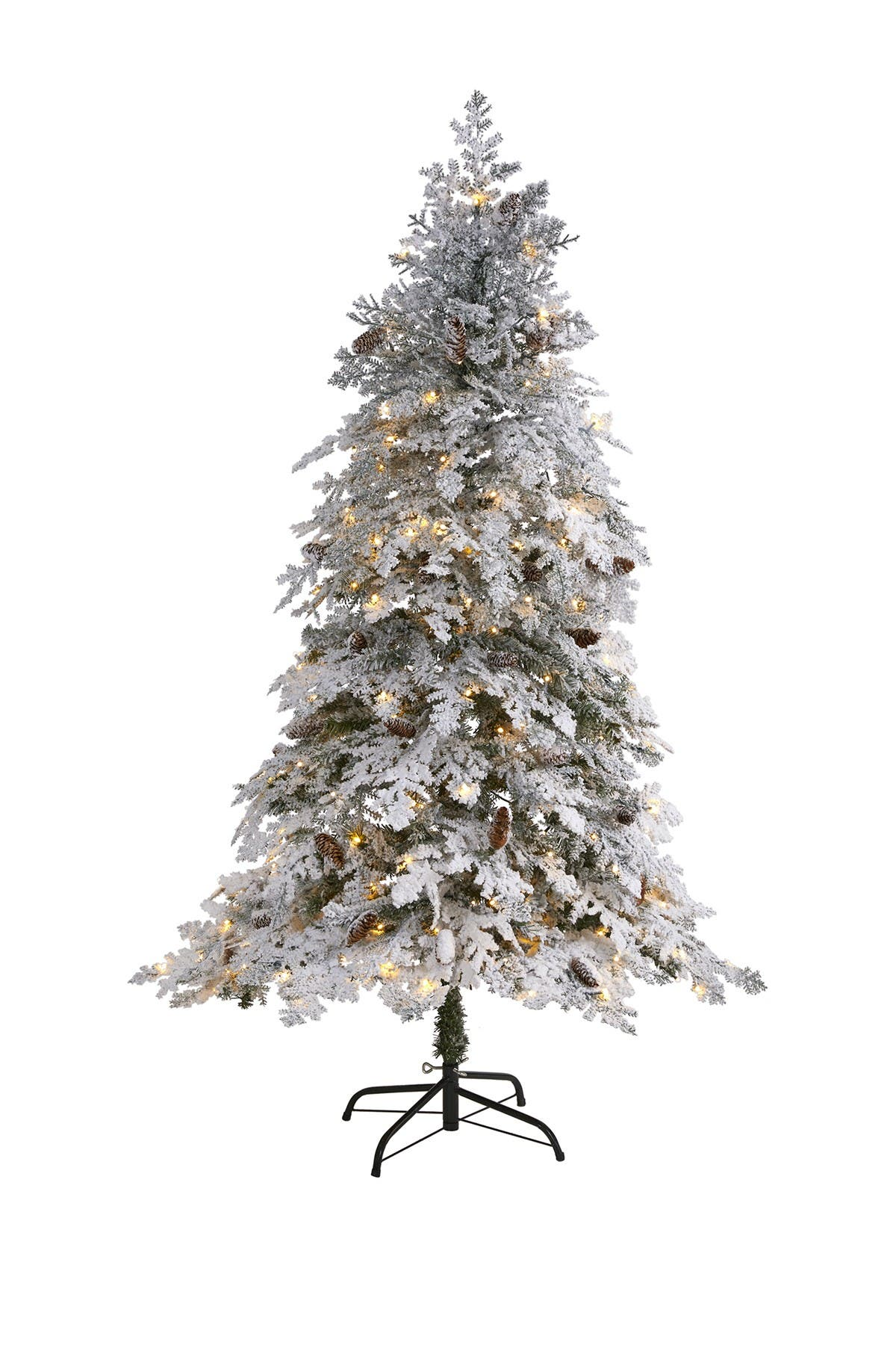 Image of NEARLY NATURAL 6ft. Flocked Montana Down Swept Spruce Artificial Christmas Tree