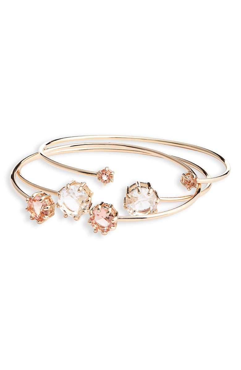 RACHEL PARCELL Set of 3 Crystal Bangles, Main, color, 935