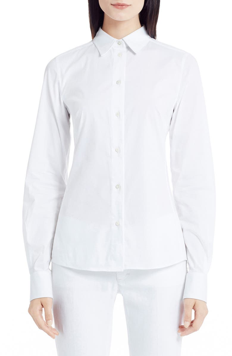 DOLCE&GABBANA Stretch Poplin Blouse, Main, color, OPTIC WHITE