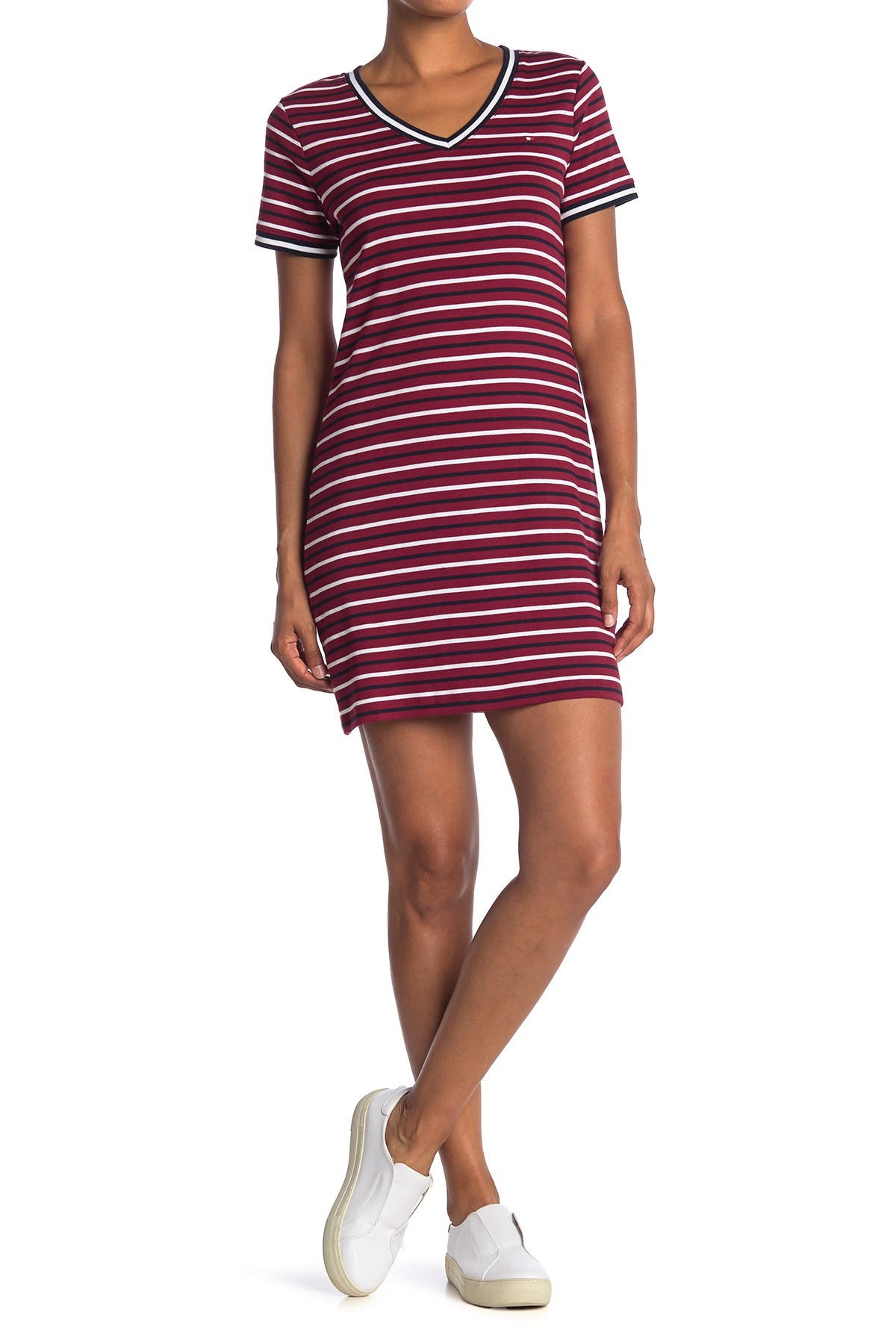 Image of Tommy Hilfiger Ideal Striped V-Neck T-Shirt Dress