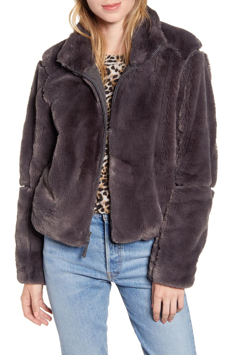 PATAGONIA Lunar Frost Faux Fur Jacket, Main, color, FORGE GREY