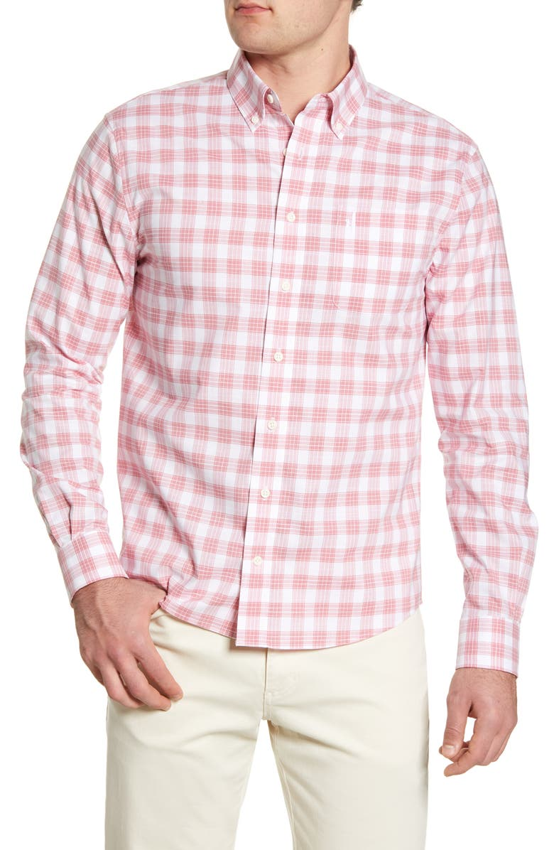 JOHNNIE-O Landon Classic Fit Check Button-Down Shirt, Main, color, STRAWBERRY