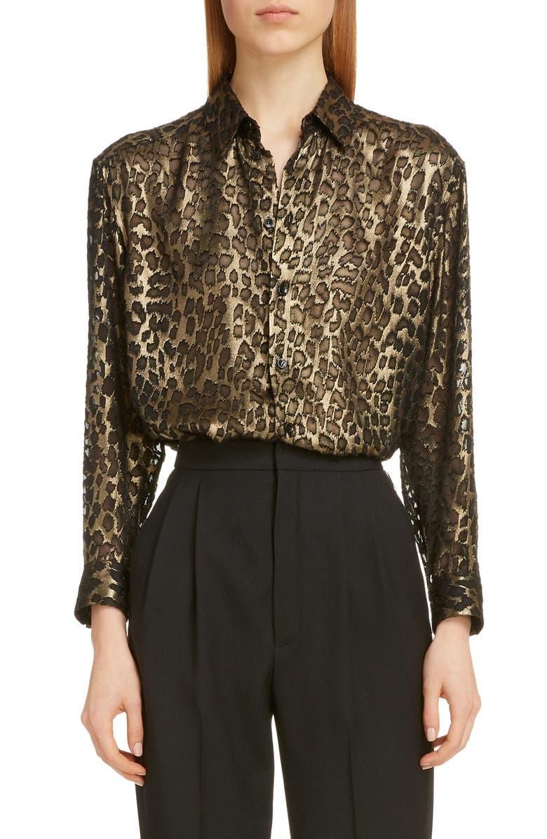 SAINT LAURENT Metallic Burnout Leopard Shirt, Main, color, NOIR OR METAL