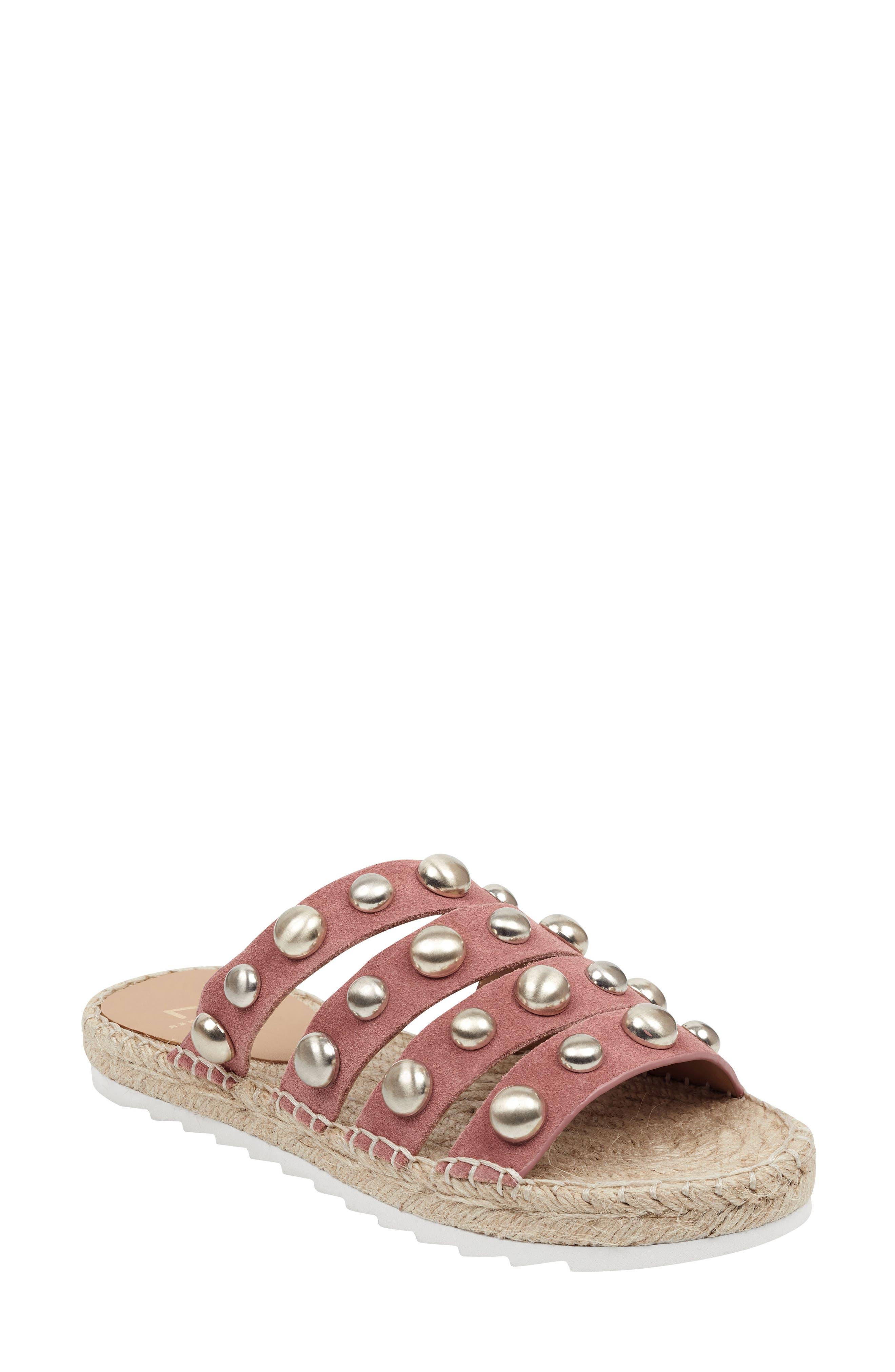 Marc Fisher Ltd Brandie Strappy Studded Slide Sandal- Pink
