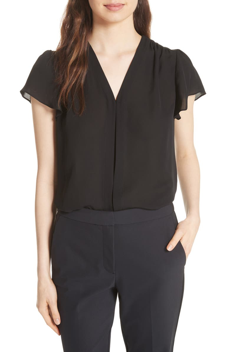 REBECCA TAYLOR Celina Silk Top, Main, color, BLACK