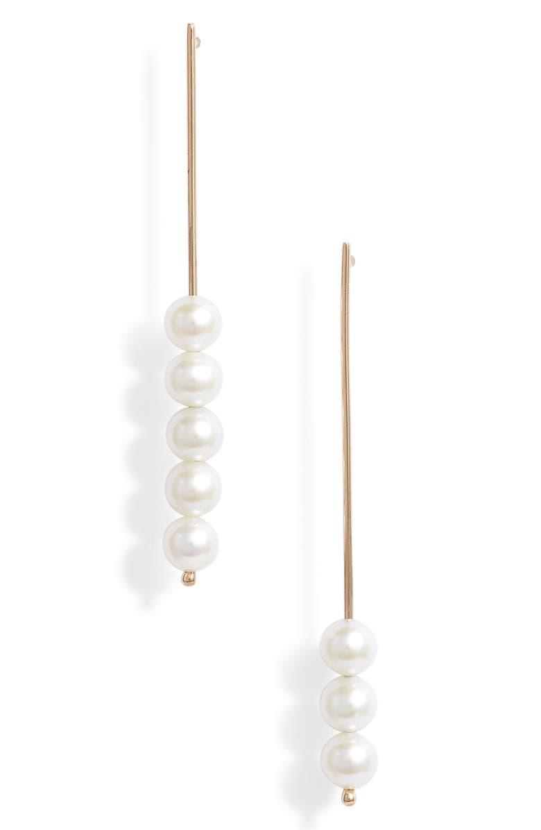 POPPY FINCH Baby Pearl Stick Pin Linear Drop Mismatch Earrings, Main, color, 710