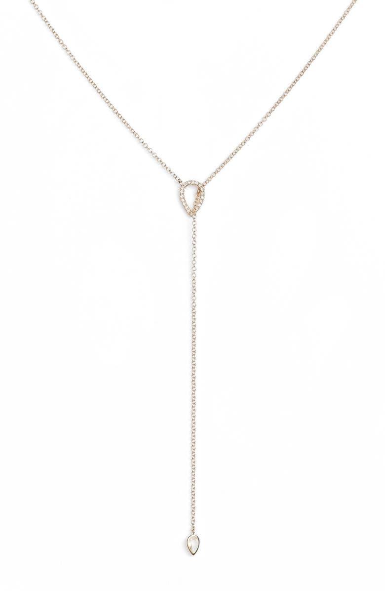 EF COLLECTION Teardrop Diamond Lariat Necklace, Main, color, 712