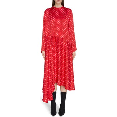 Balenciaga Polka Dot Asymmetrical Long Sleeve Midi Dress, Red