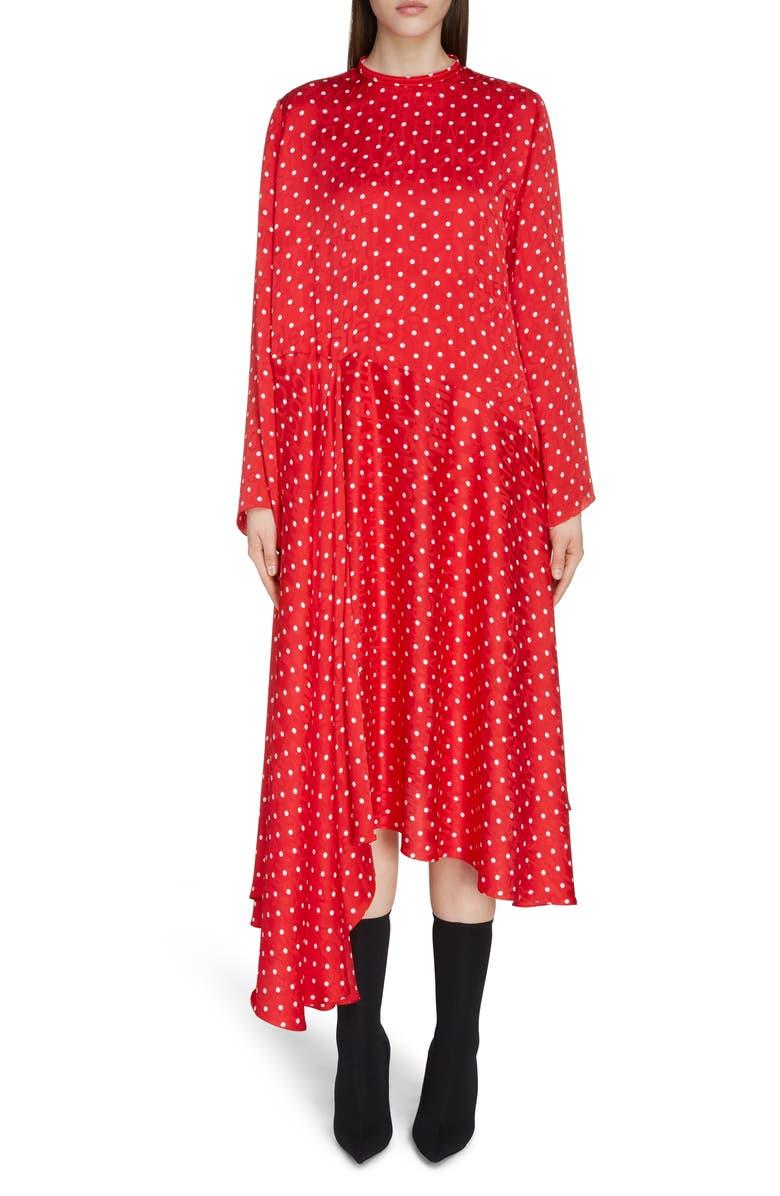 BALENCIAGA Polka Dot Asymmetrical Long Sleeve Midi Dress, Main, color, RED/ WHITE