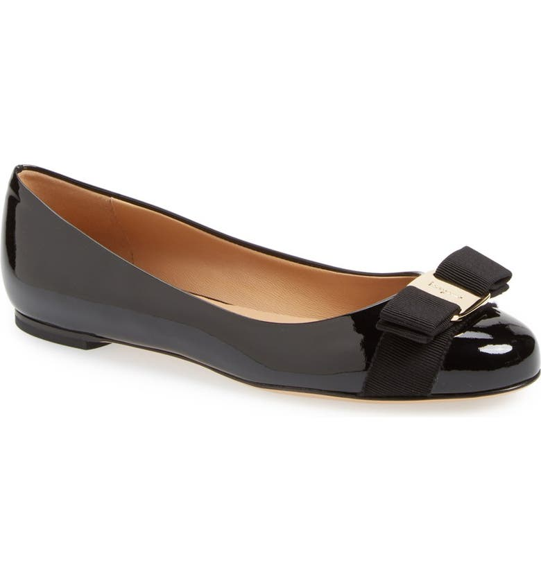 SALVATORE FERRAGAMO Varina Leather Flat, Main, color, NERO PATENT/ GOLD