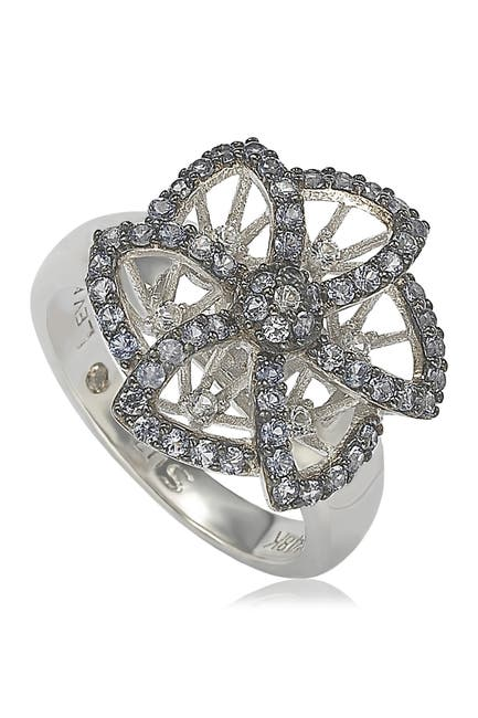Image of Suzy Levian Sterling Silver Sapphire Brown Diamond Flower Ring - 0.02 ctw