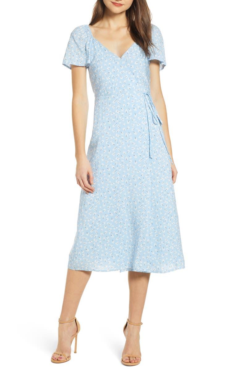 4SI3NNA Short Sleeve Wrap Dress, Main, color, 452