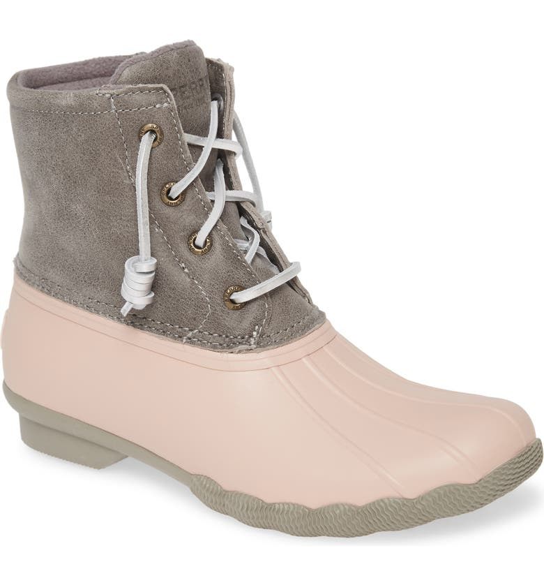 SPERRY Saltwater Rain Boot, Main, color, GREY/ ROSE LEATHER