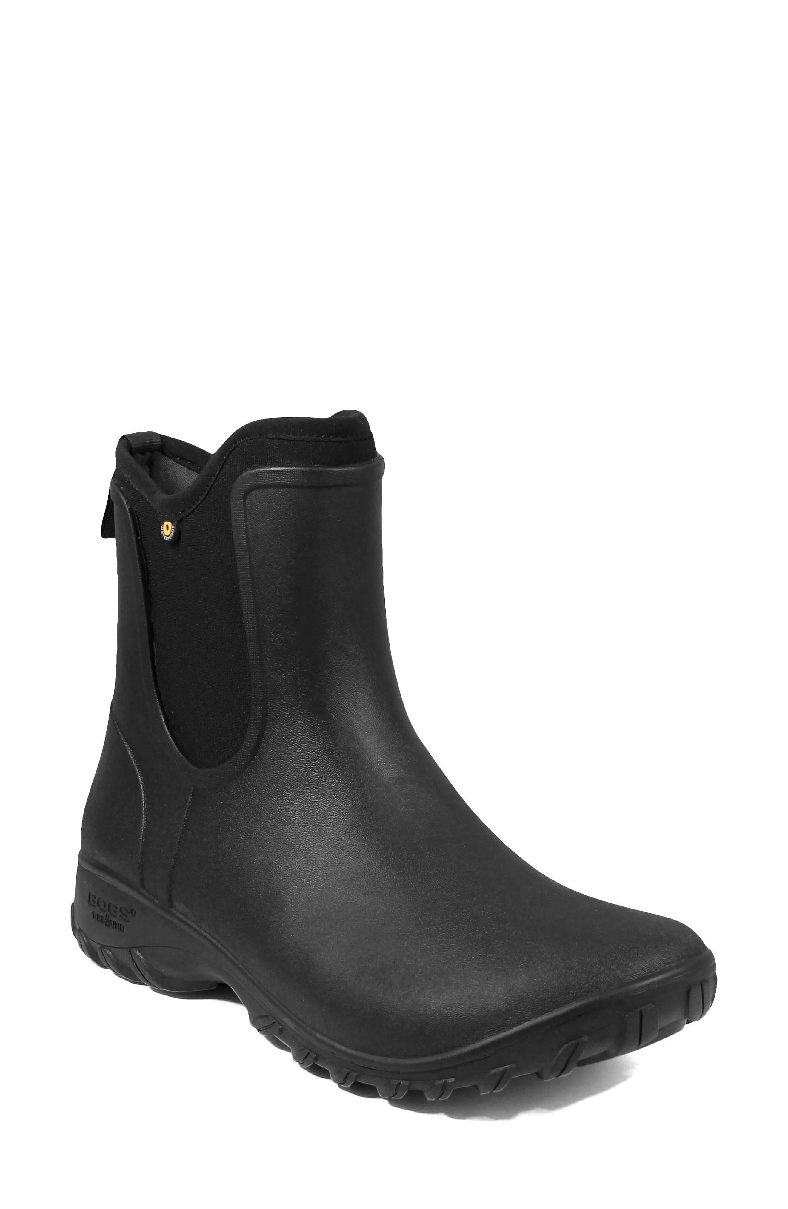 ,                             Sauvie Waterproof Chelsea Boot,                             Main thumbnail 1, color,                             BLACK RUBBER