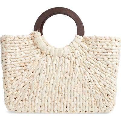 Knotty Straw Top Handle Tote - White