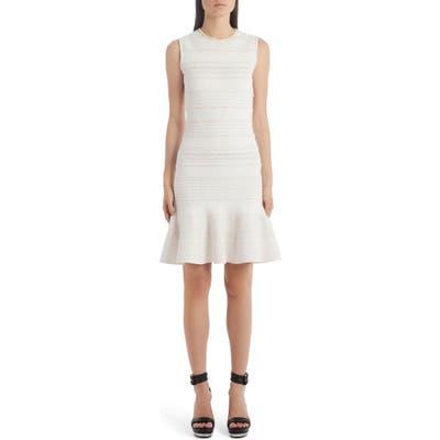 Alexander Mcqueen Flutter Hem Jacquard Sweater Dress, Ivory