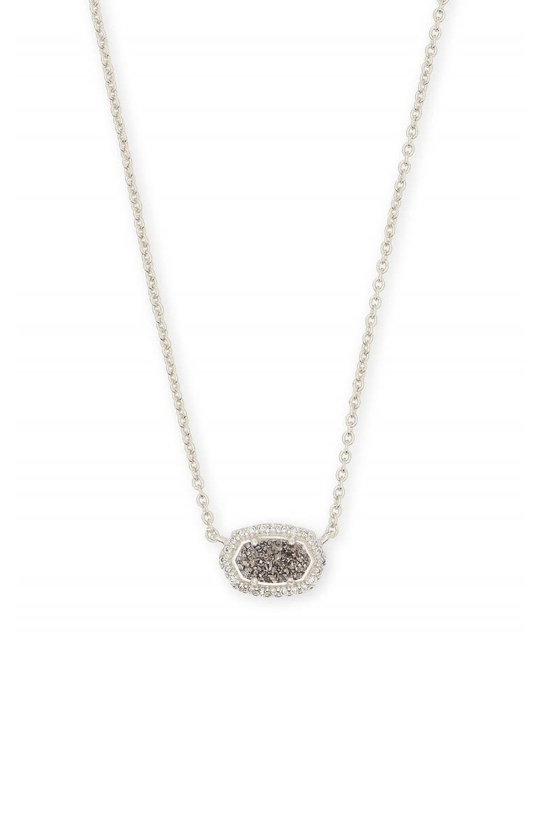 KENDRA SCOTT Chelsea Pendant Necklace, Main, color, PLATINUM DRUSY/ SILVER