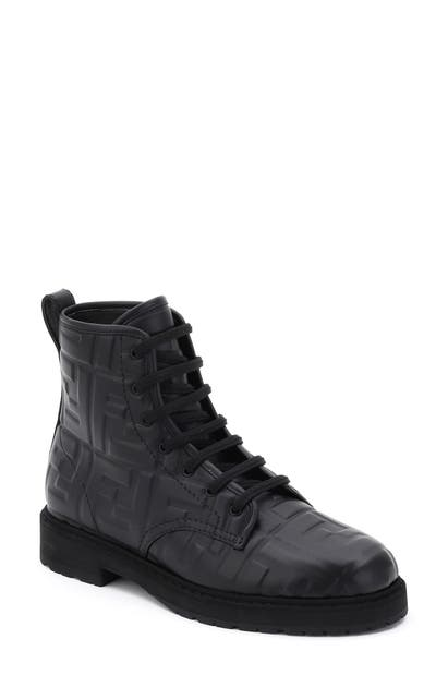 Fendi Leathers FF EMBOSSED LOGO COMBAT BOOT