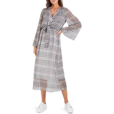 Cooper St Wild Heart Plaid Long Sleeve Midi Dress, Grey