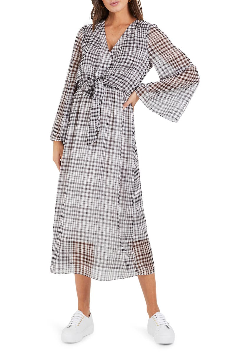 COOPER ST Wild Heart Plaid Long Sleeve Midi Dress, Main, color, PRINT DARK