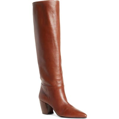 Prada Tall Pointy Toe Boot - Brown