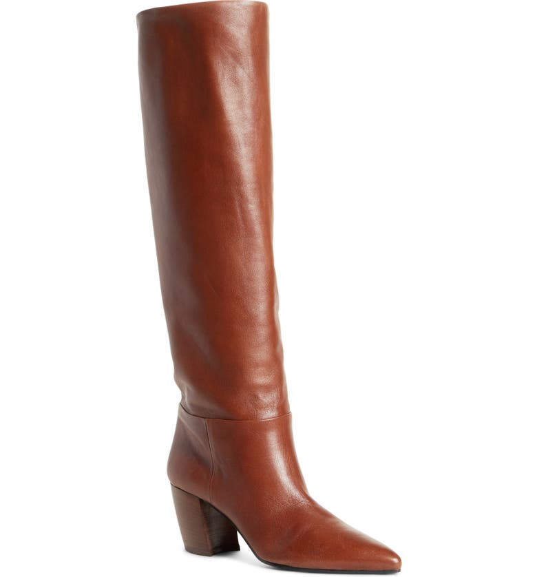 PRADA Tall Pointy Toe Boot, Main, color, BRANDY LEATHER