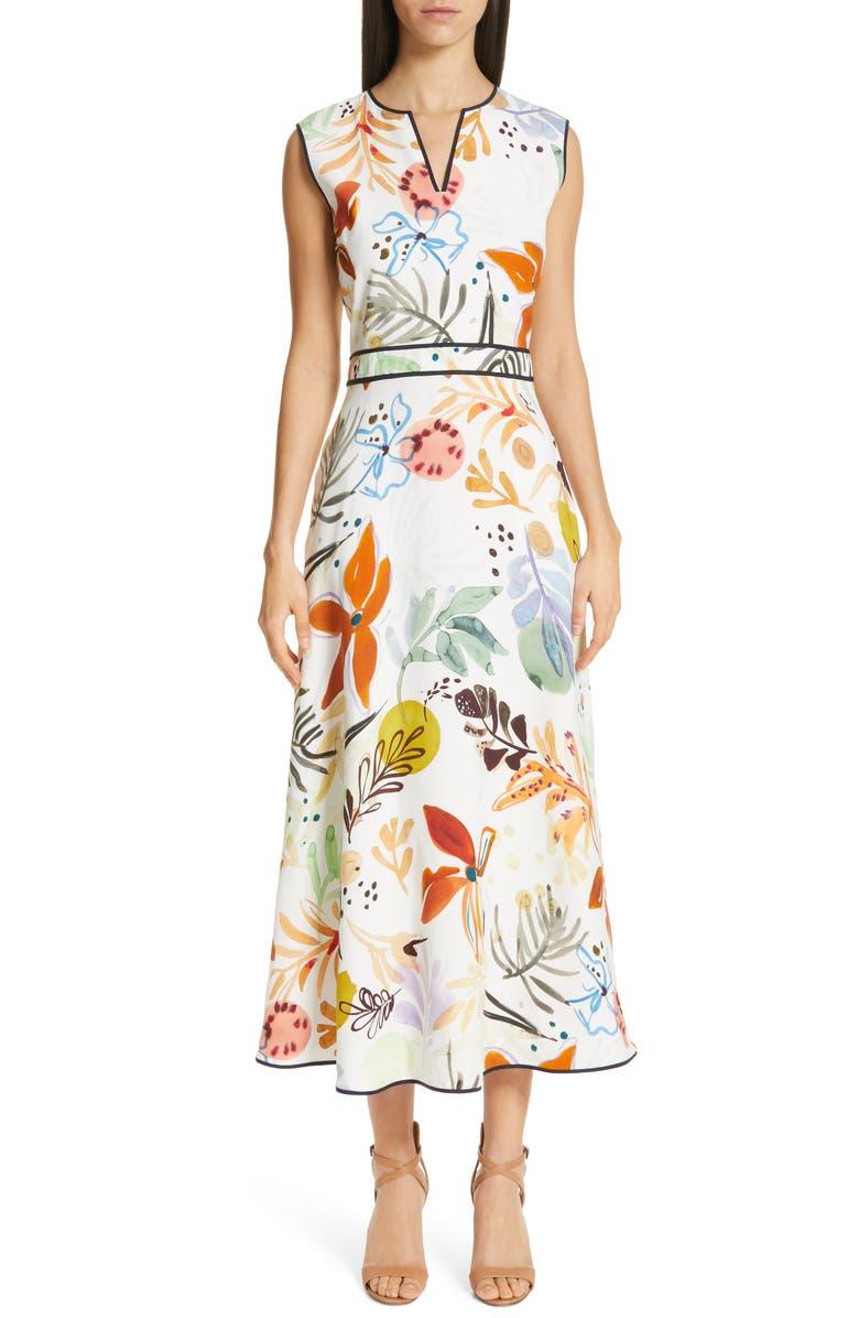 LAFAYETTE 148 NEW YORK Janelle Floral Print Midi Dress, Main, color, 129