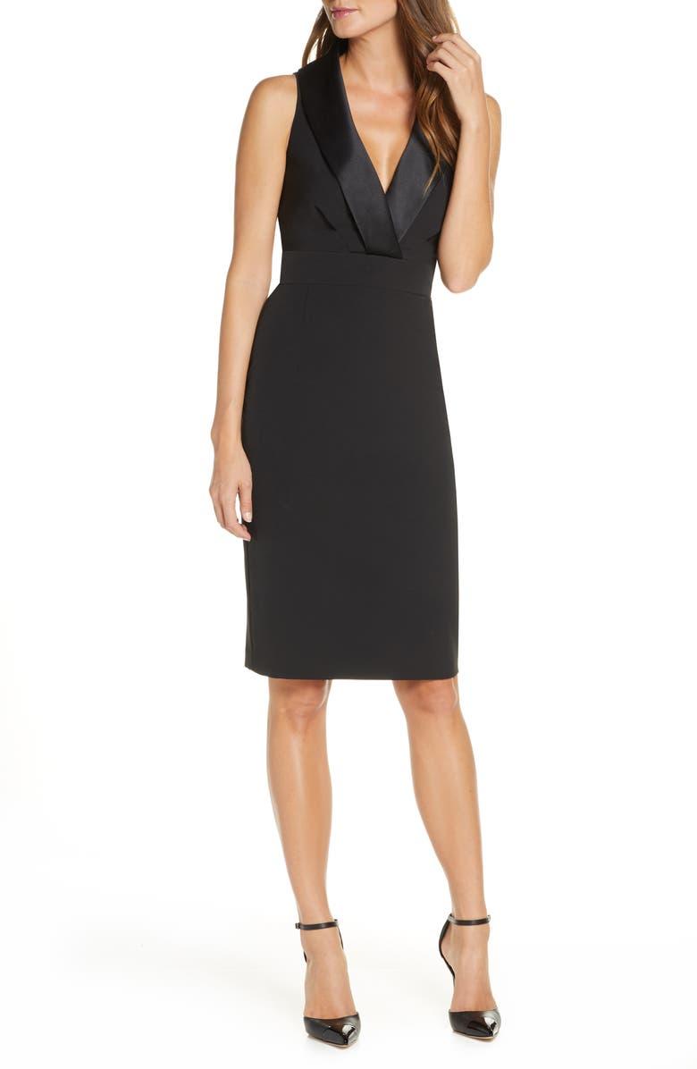 ELIZA J Shawl Collar Sleeveless Tuxedo Sheath Dress, Main, color, BLACK