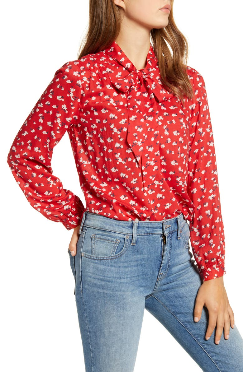 LUCKY BRAND Ava Floral Tie Neck Blouse, Main, color, 610