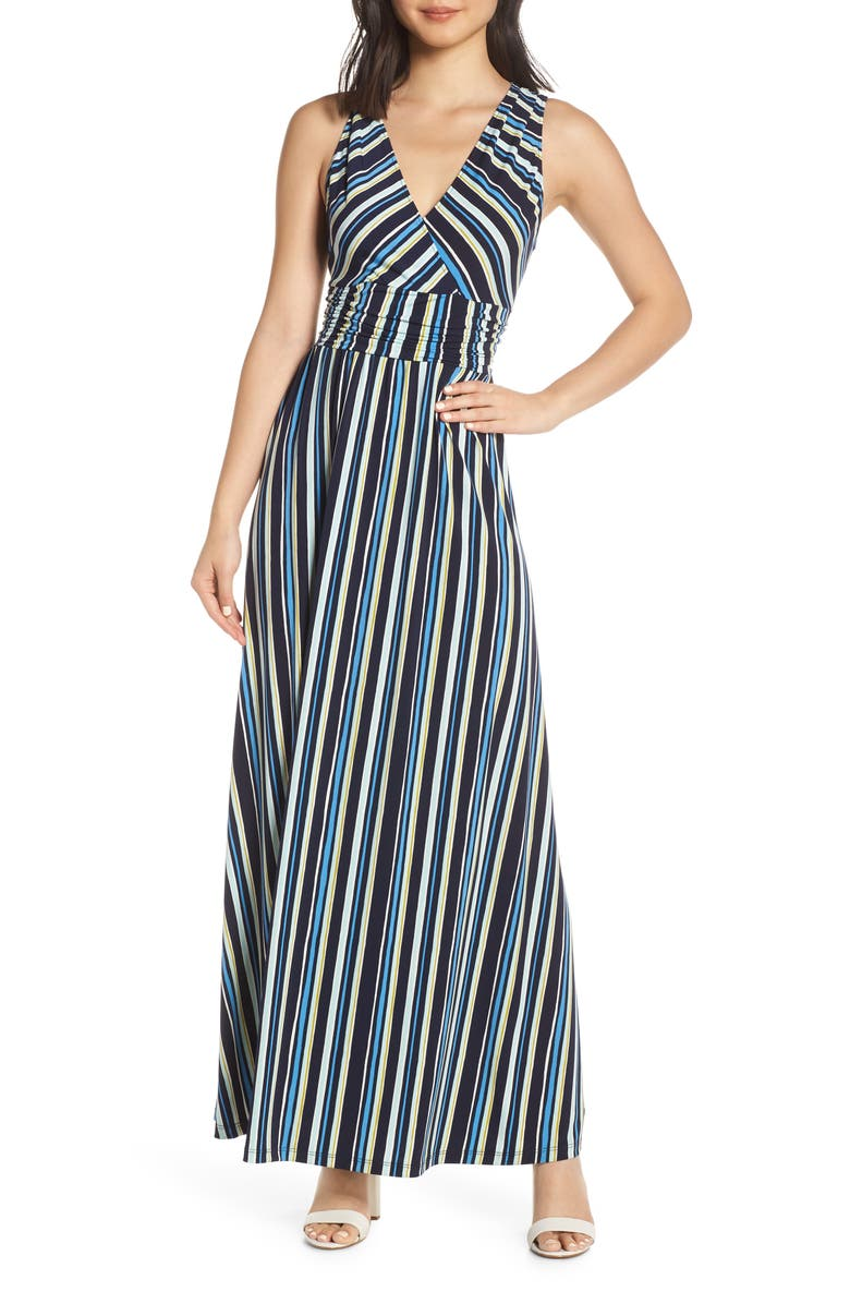 LEOTA Athena Stripe Sleeveless Maxi Dress, Main, color, AZURE BLUE