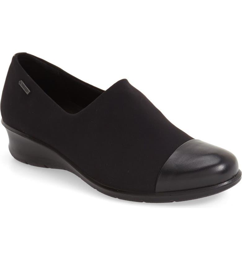 ECCO 'Felicia GTX' Waterproof Wedge Loafer, Main, color, 011