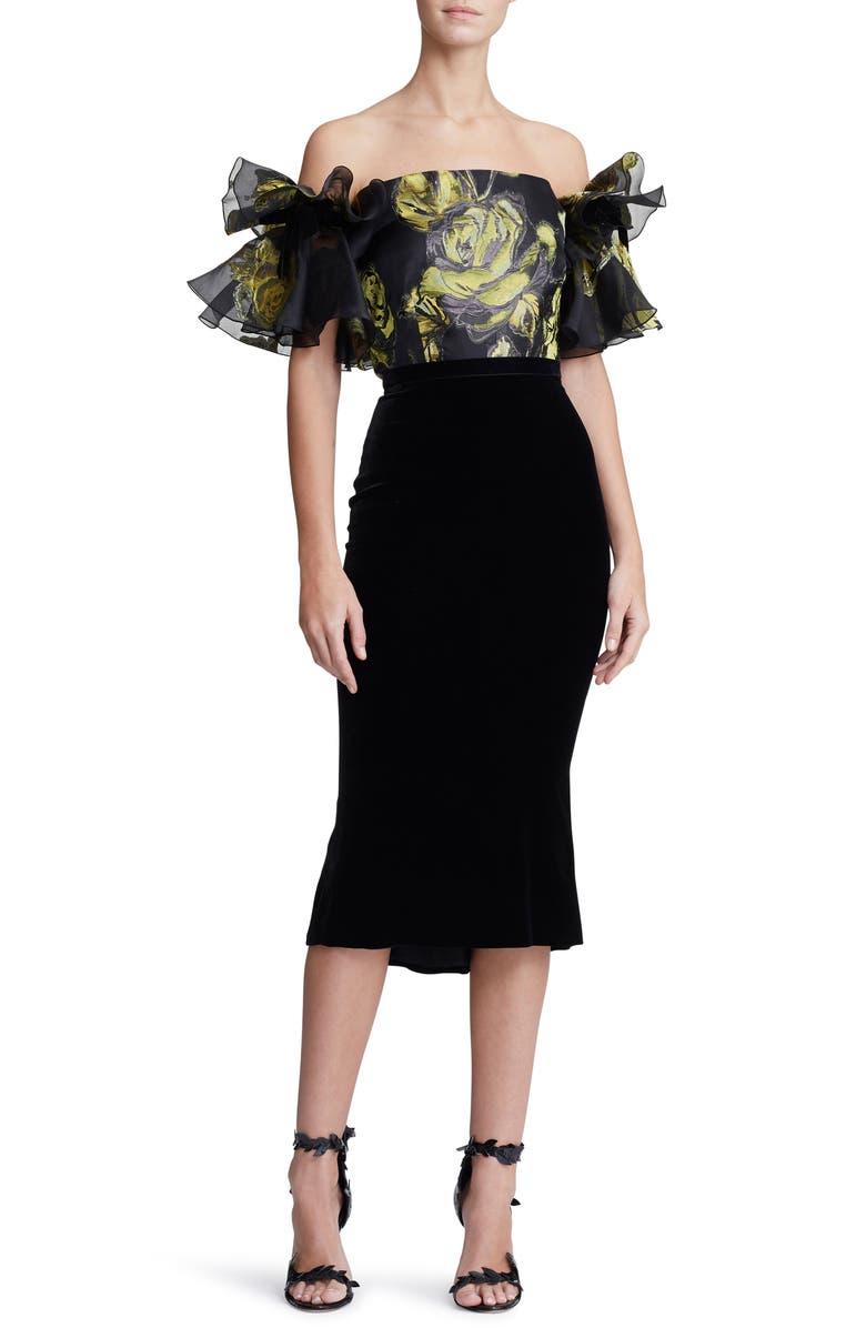 MARCHESA Ruffle Off the Shoulder Mixed Media Dress, Main, color, 001