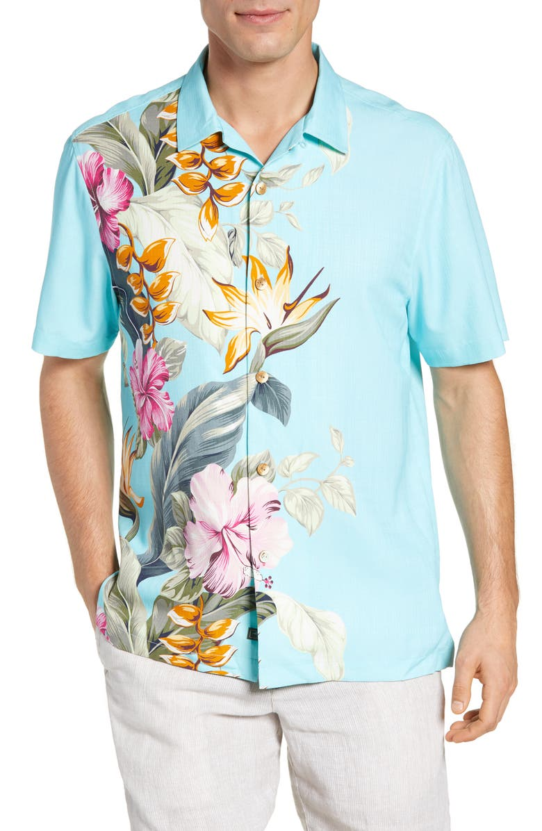 TOMMY BAHAMA Garden of Hope & Courage Silk Shirt, Main, color, BLUE SWELL