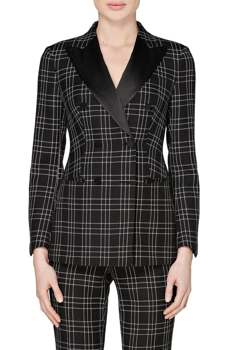 SUISTUDIO Cameron Double Breasted Check Wool Suit Jacket, Main, color, BLACK CHECK