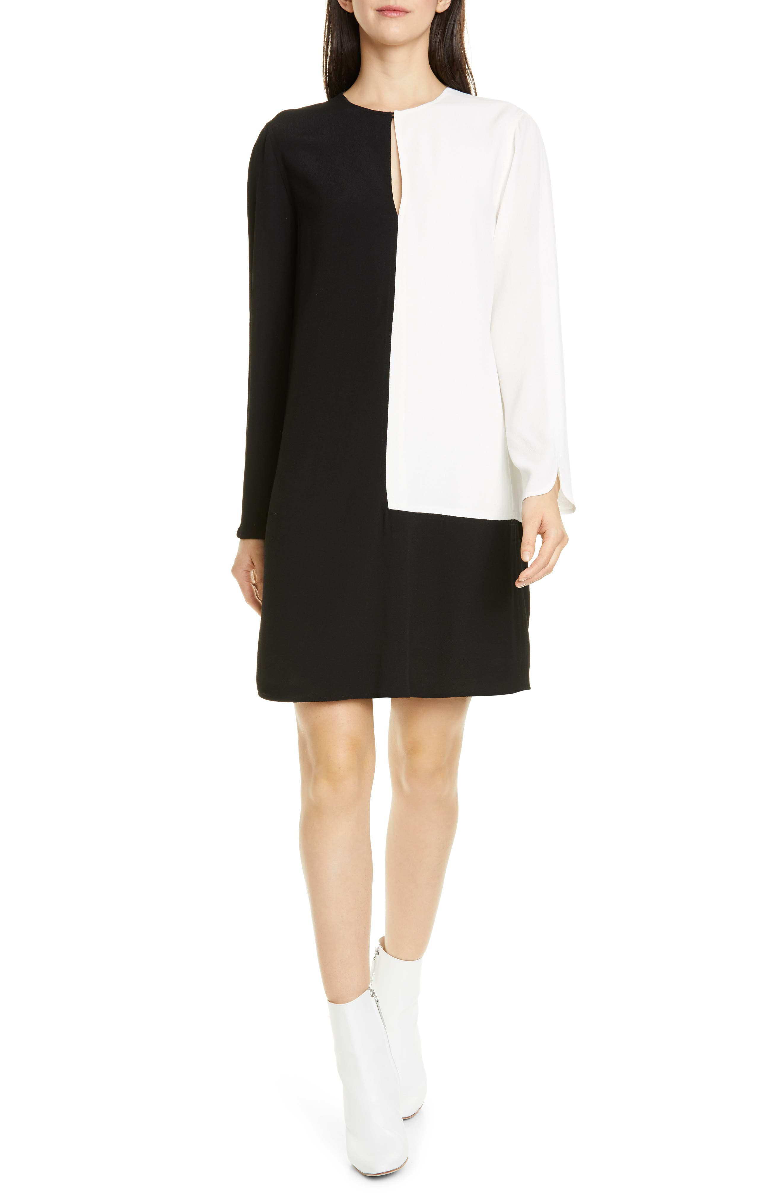Equipment Tatienne Long Sleeve Shift Dress, Black