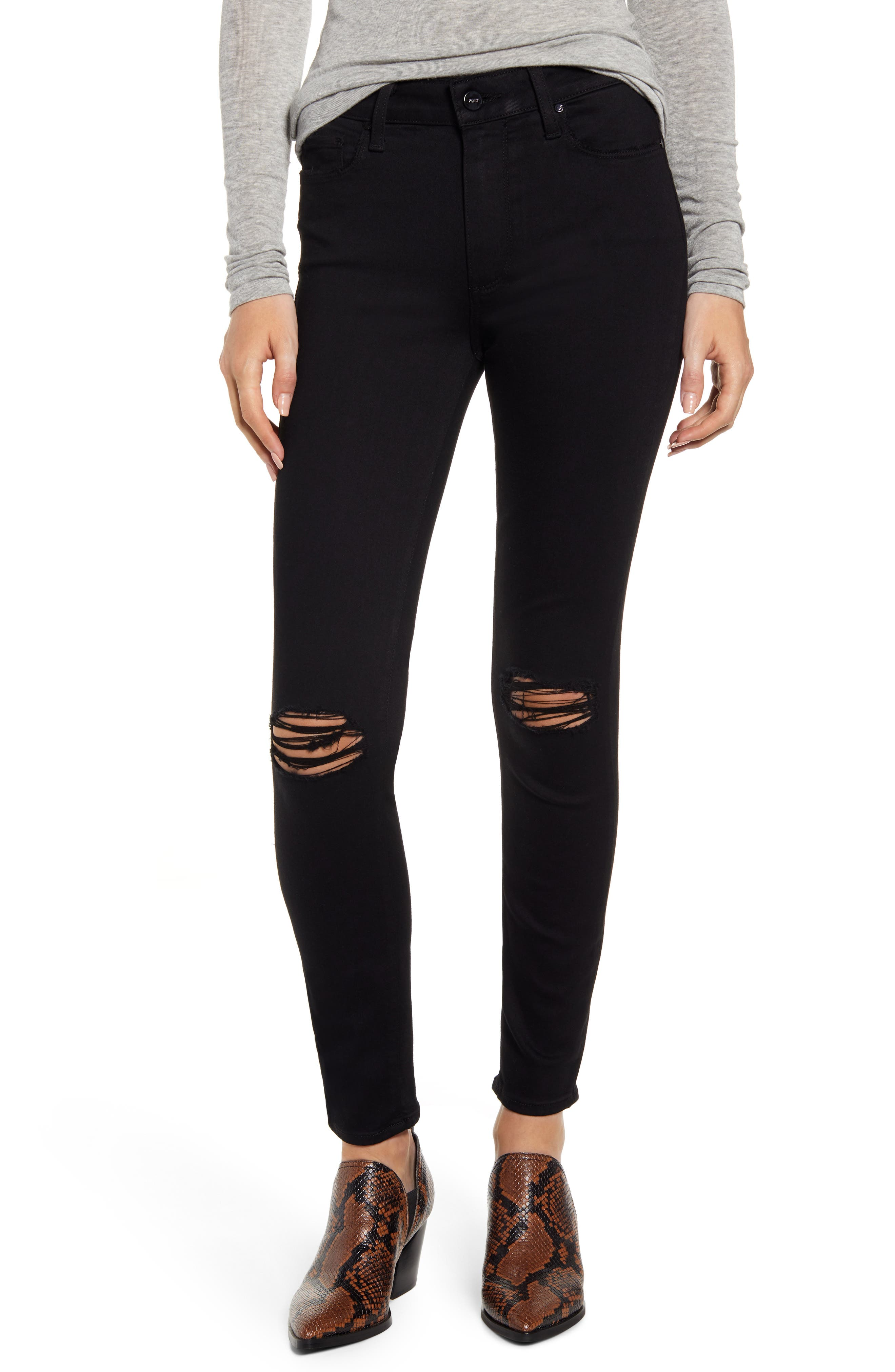 PAIGE Transcend - Hoxton Ripped High Waist Ankle Skinny Jeans (Blackbird Destructed)