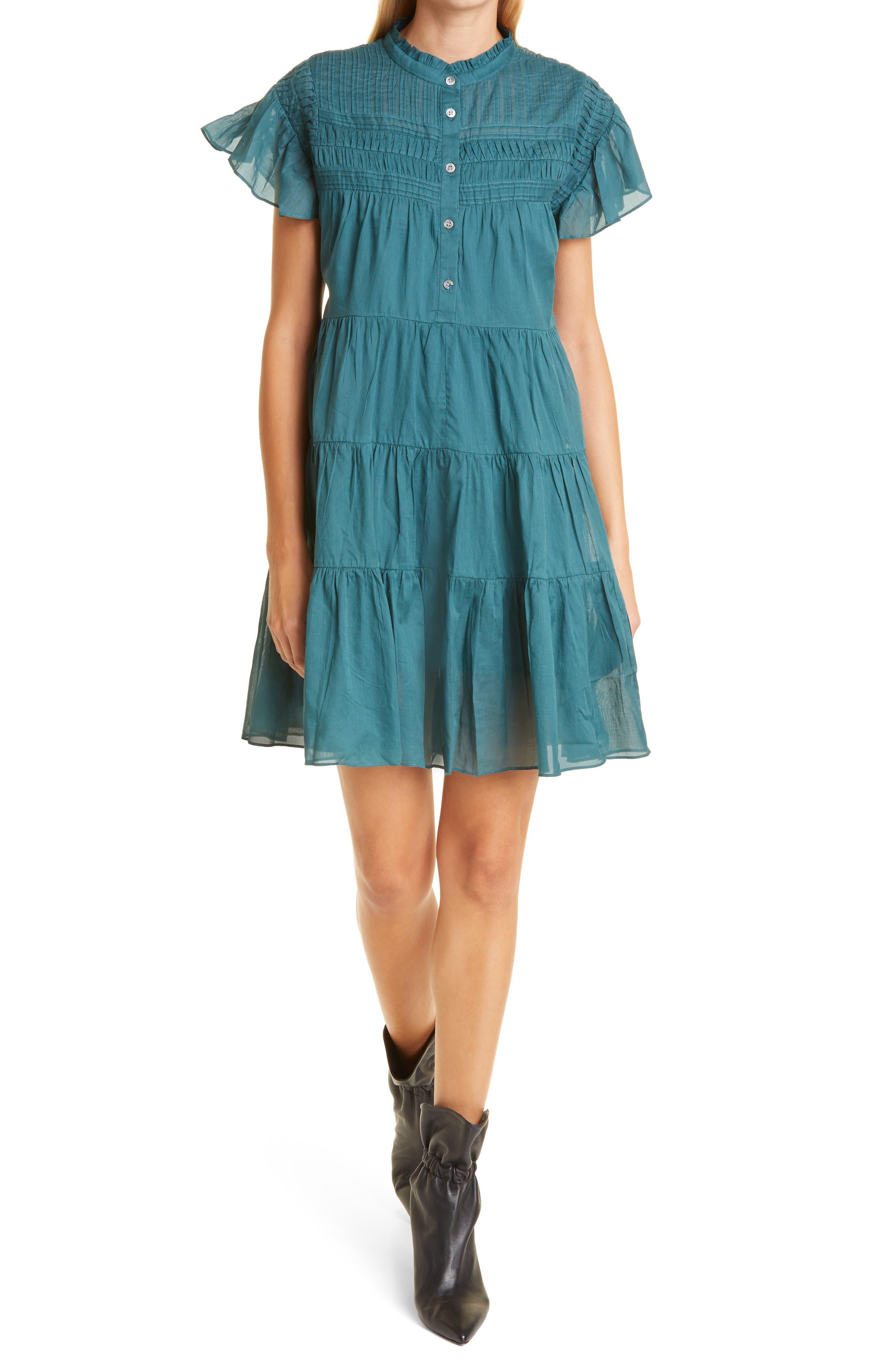 Women's Isabel Marant Etoile Lanikaye Sheer Flounce Sleeve Cotton Babydoll Dress