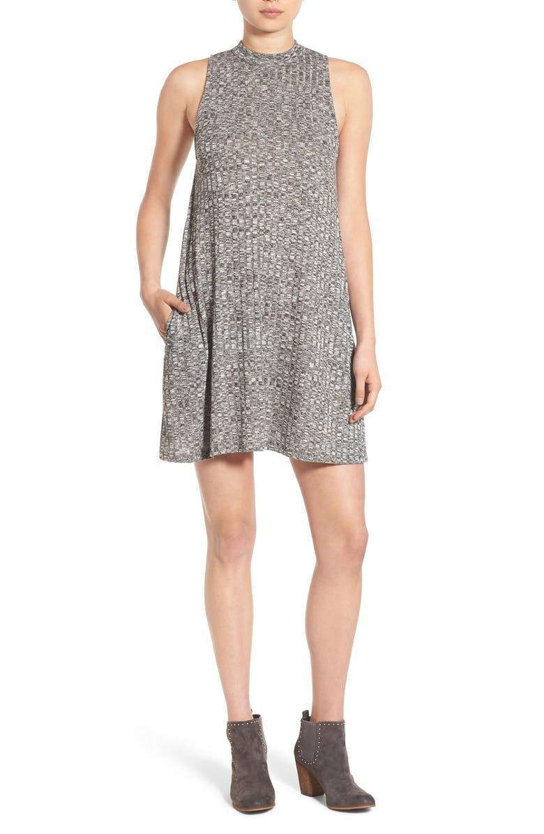 BP. Rib Knit Swing Dress, Main, color, 001