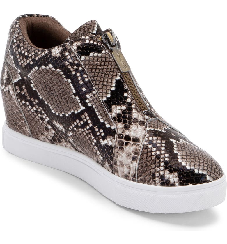 BLONDO Glenda Waterproof Sneaker Bootie, Main, color, BROWN SNAKE PRINT LEATHER