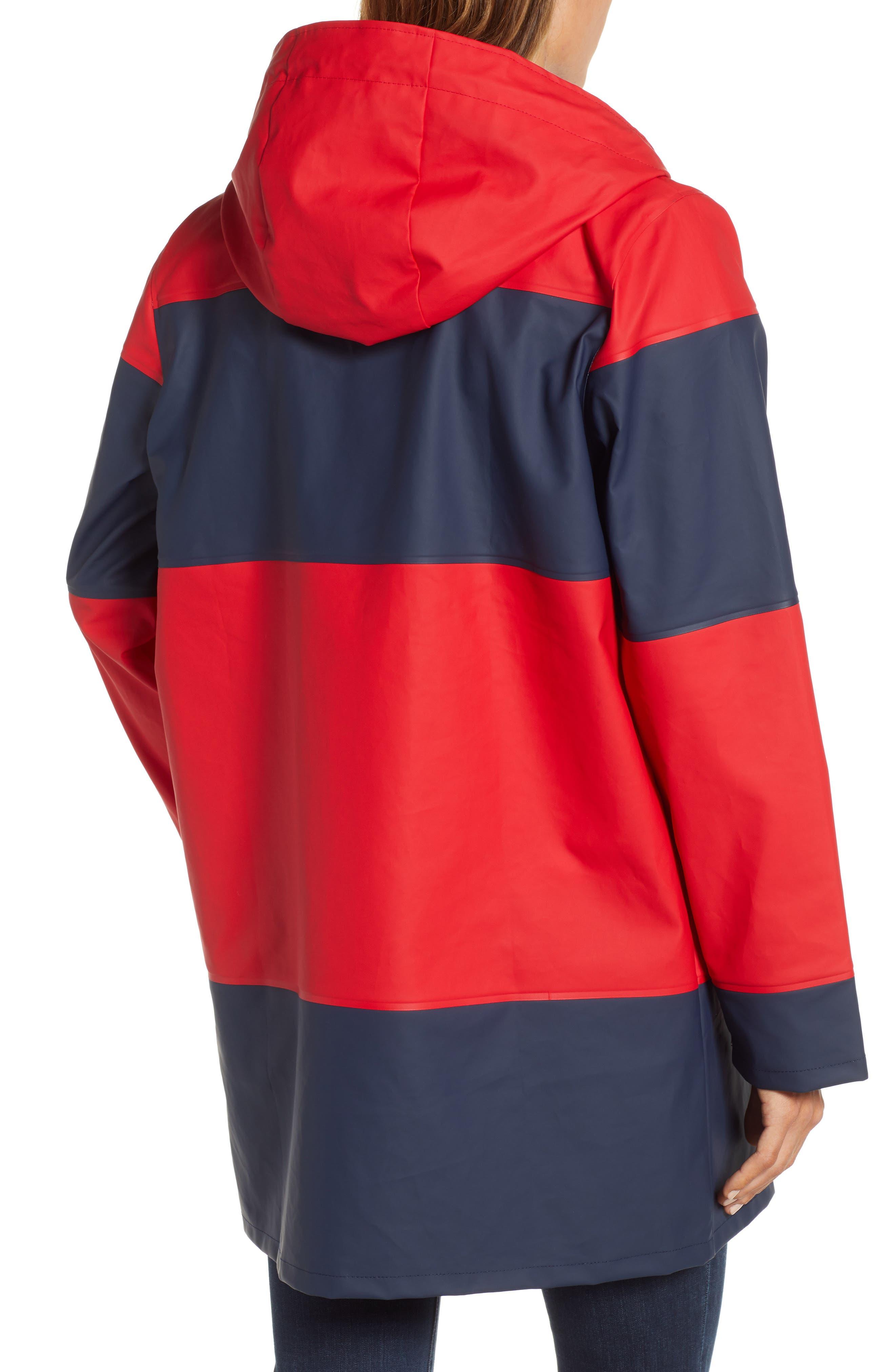 ,                             Seaside Hooded Rain Jacket,                             Alternate thumbnail 2, color,                             RED/ NAVY