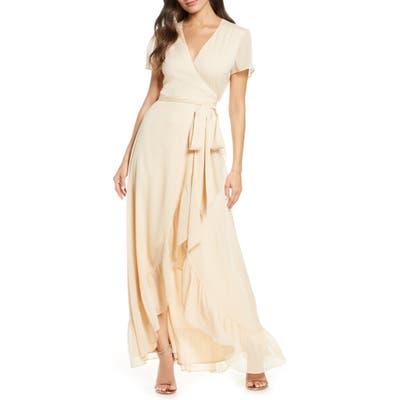 Wayf The Natasha Wrap Gown, Beige