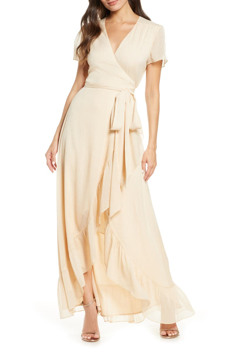 WAYF The Natasha Wrap Gown, Main, color, ANTIQUE CHAMPAGNE