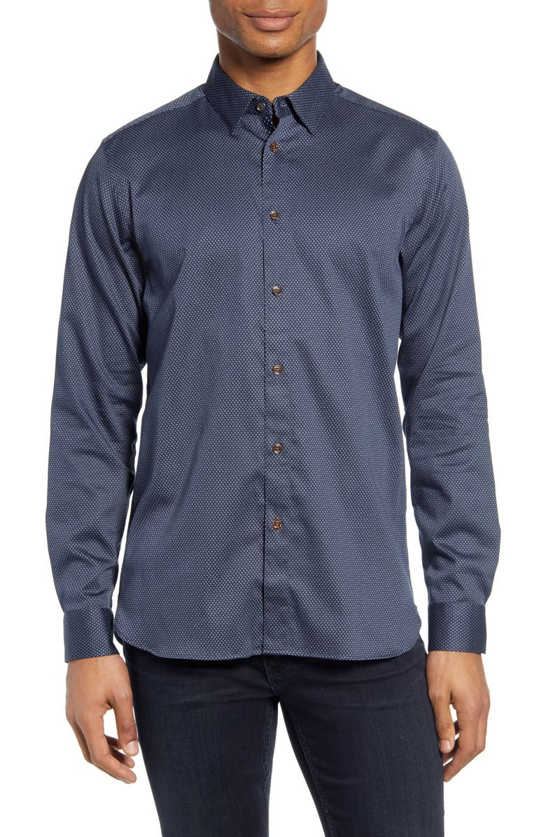 TED BAKER LONDON Tillnow Button-Up Shirt, Main, color, NAVY