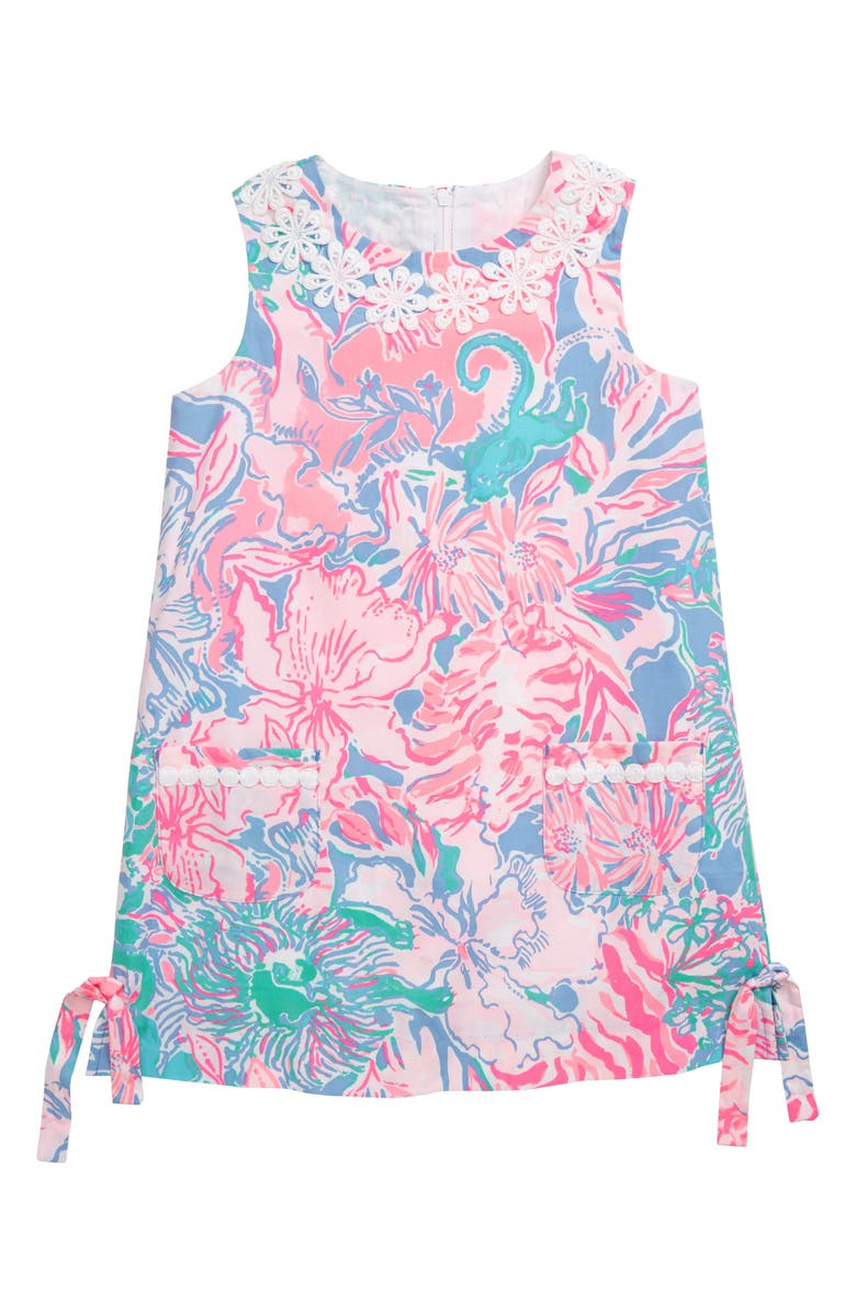 LILLY PULITZER<SUP>®</SUP> Little Lilly Shift Dress, Main, color, BLUE PERI VIVA LA LILLY
