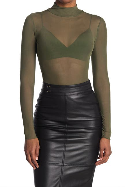 Image of AFRM Mock Neck Long Sleeve Mesh Top