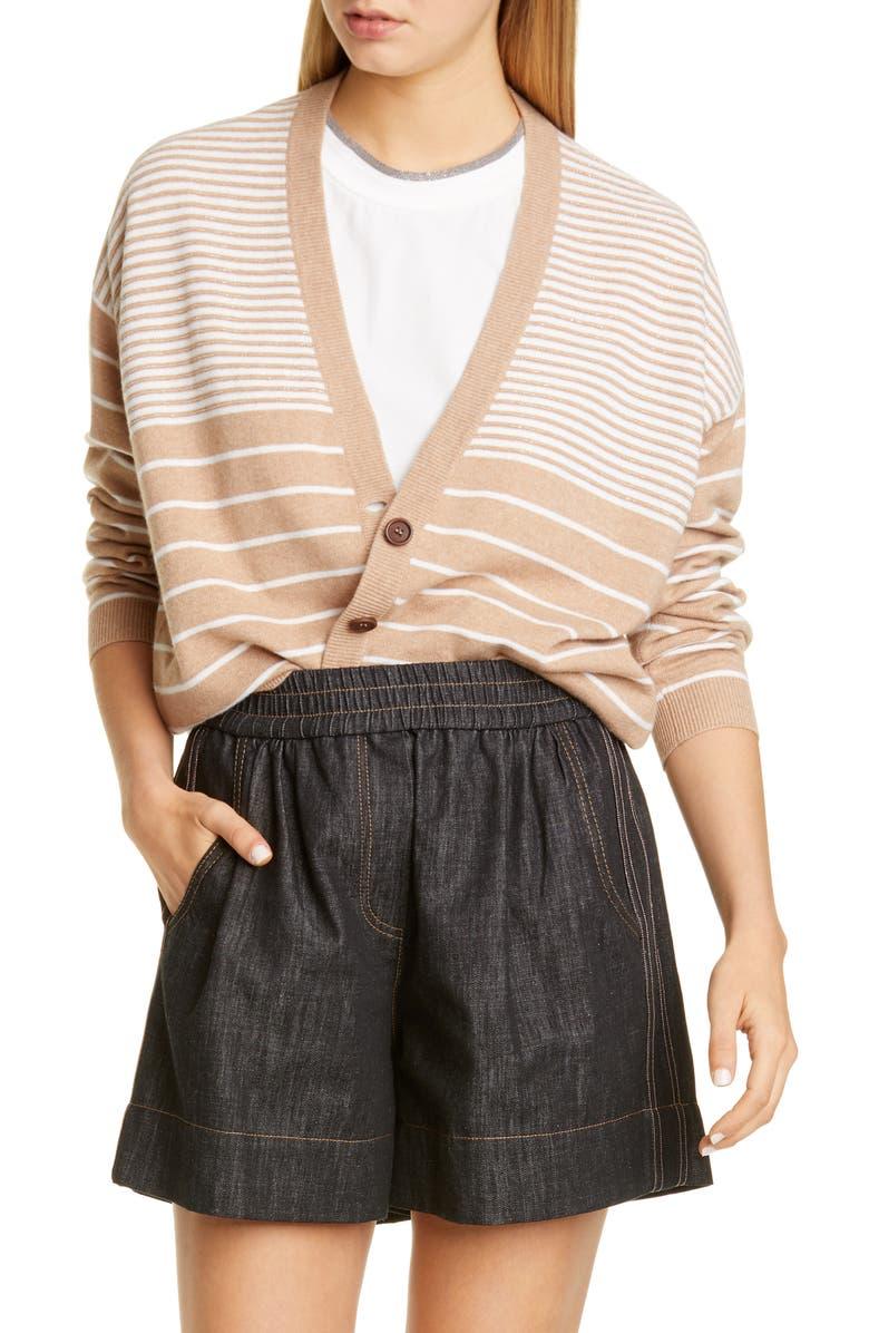 BRUNELLO CUCINELLI Beaded Stripe Wool, Cashmere & Silk Cardigan, Main, color, CAMEL/ WHITE