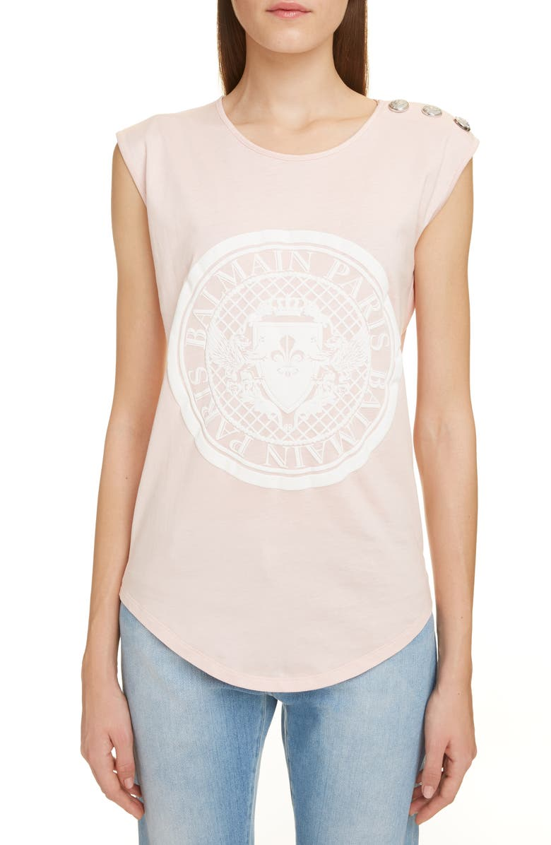 BALMAIN Coin Logo Tank, Main, color, OAV ROSE PLE/ BLANC