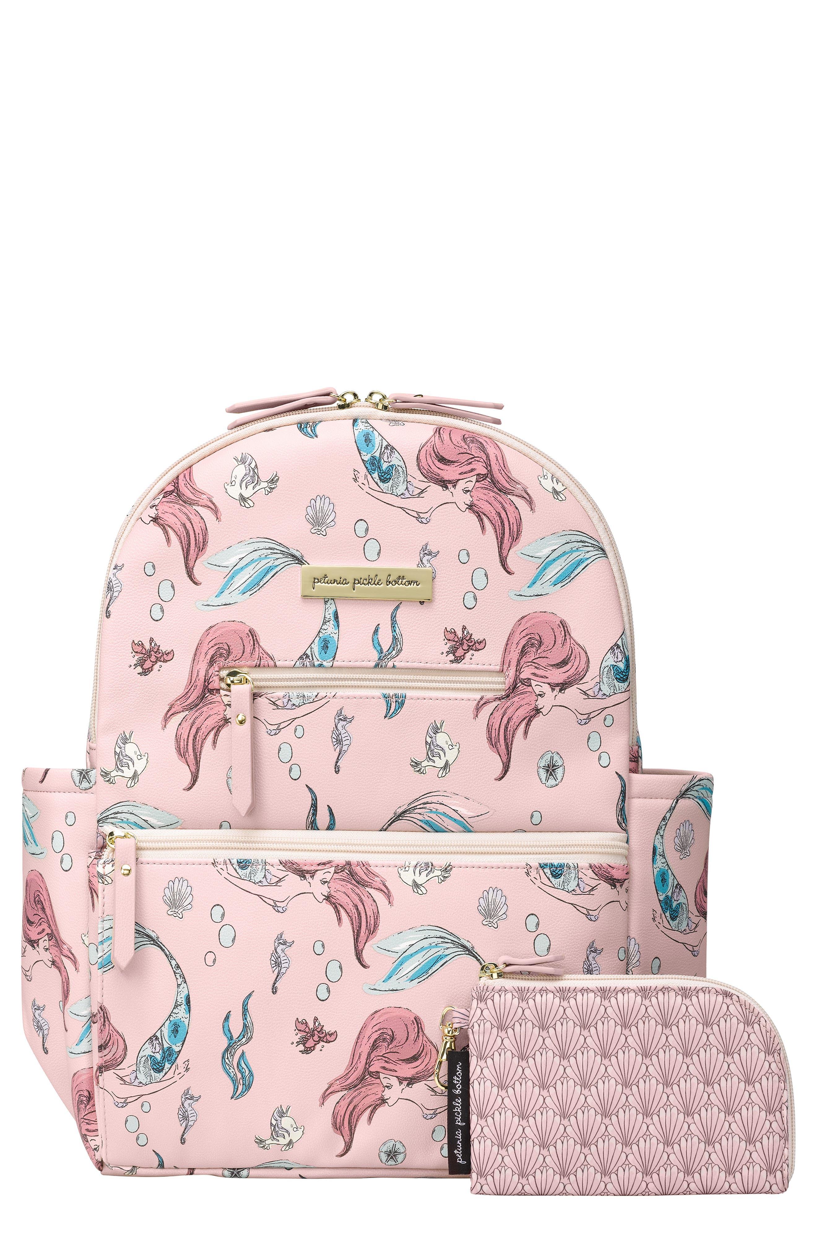 Infant Petunia Pickle Bottom X Disney Little Mermaid Ace Diaper Bag Backpack  Pink