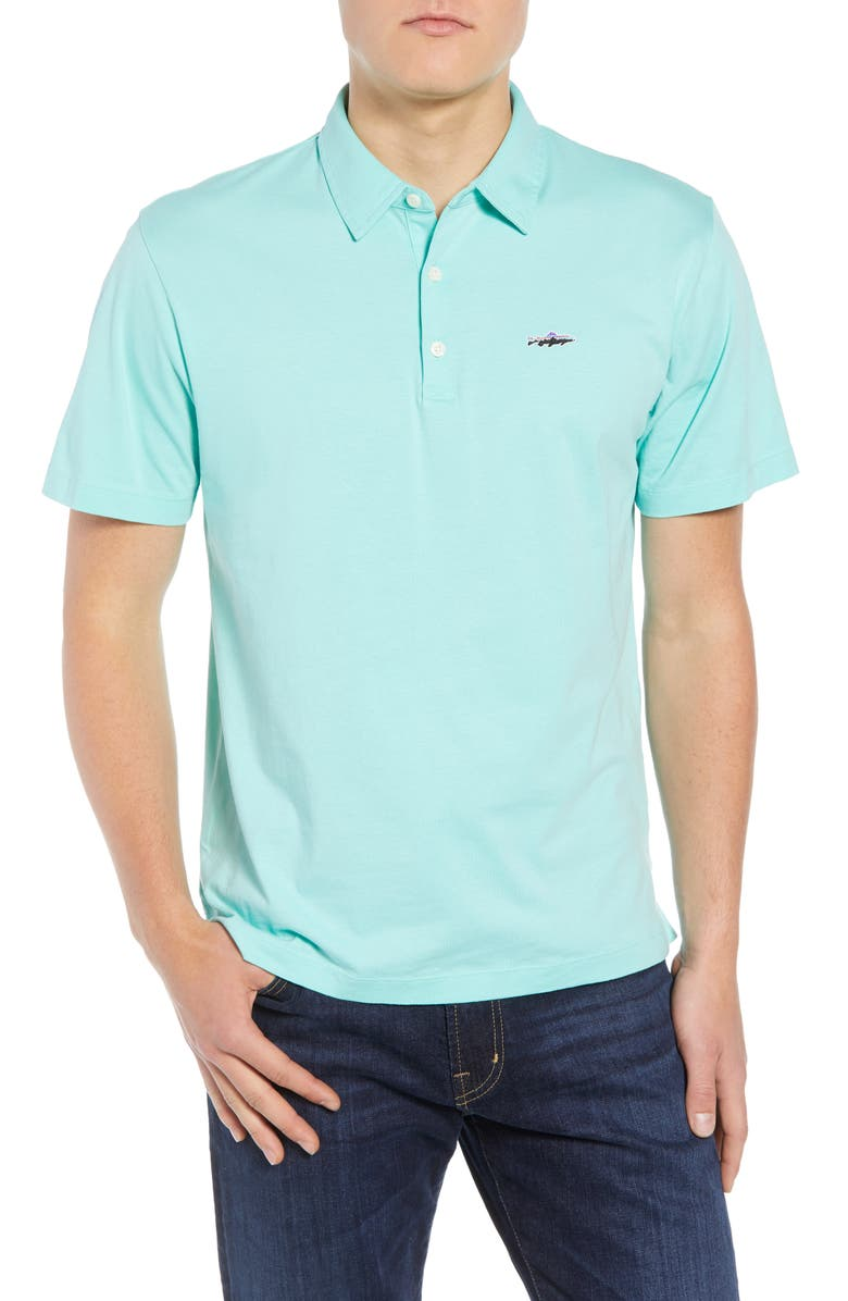 PATAGONIA Trout Fitz Roy Regular Fit Organic Cotton Polo, Main, color, VJOSA GREEN